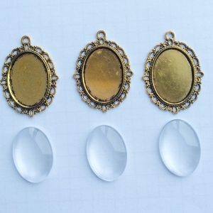 diy set cabochon oval gold